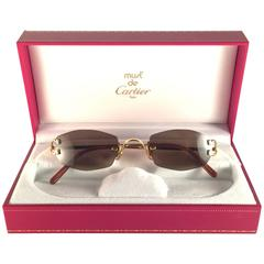 New Vintage Cartier Capri Gold 49mm Rimless Brown Lens France Sunglasses