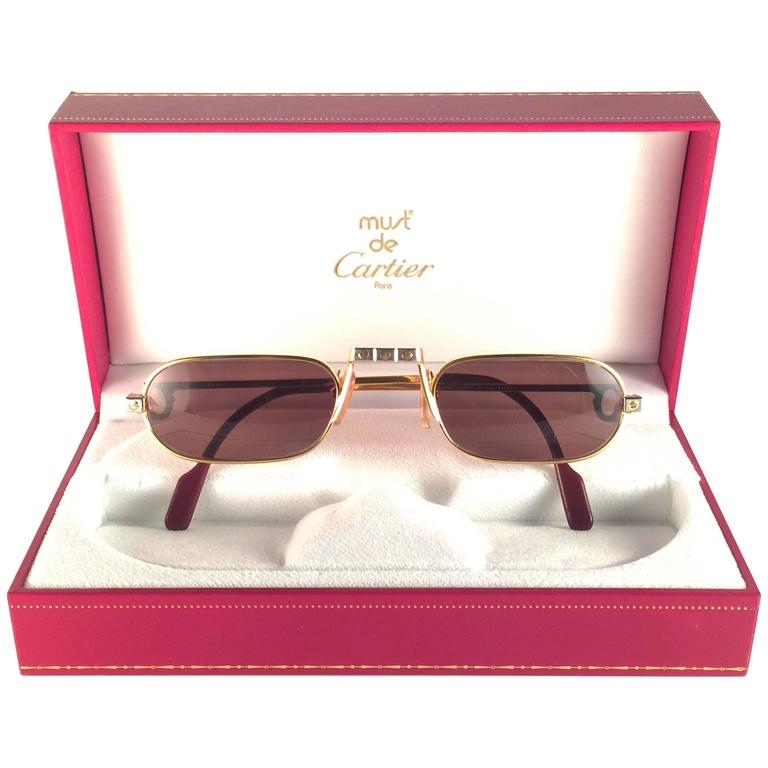 47538eaf7ab New Vintage Cartier Louis Santos Demi Lune 50mm Reading Gold Plated  Sunglasses at 1stdibs