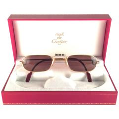 New Vintage Cartier Louis Santos Demi Lune 50mm Reading Gold Plated Sunglasses