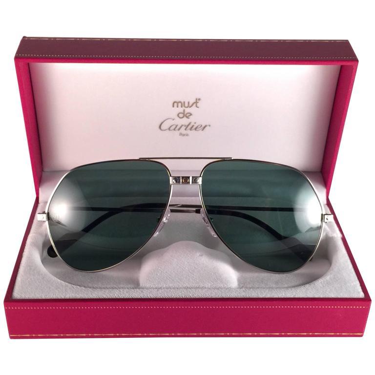 ec8245a5e0b8 New Cartier Santos Screws White Gold Heavy Plated 62Mm Sunglasses France  For Sale