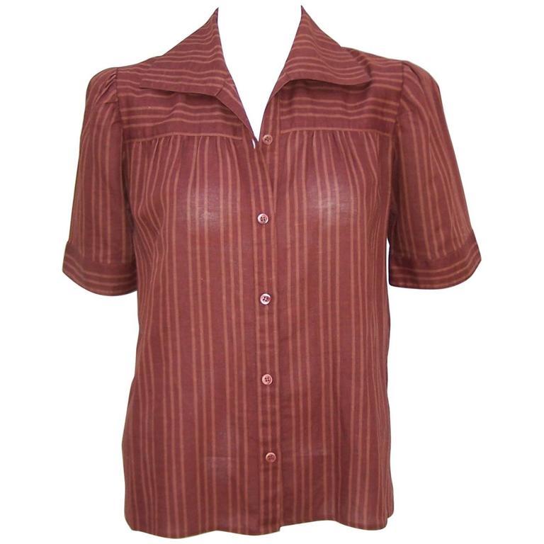 1970's Yves Saint Laurent Rive Gauche 40's Style Linen Top