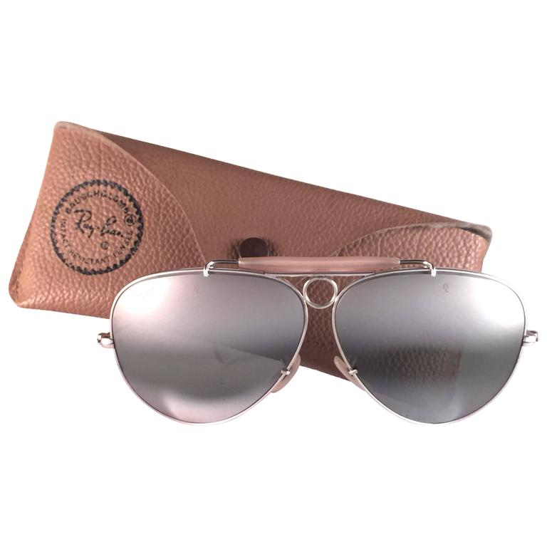 New Vintage Ray Ban Shooter White Gold 62Mm Double Mirror 1980's B&L Sunglasses For Sale