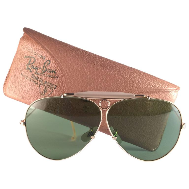 14df23df52 New Ray Ban Shooter 1950 s Classic 12K Gold Filled Collectors B L USA  Sunglasses at 1stdibs