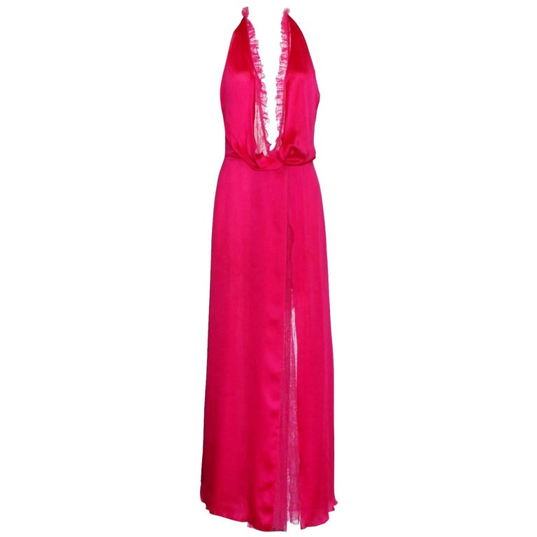 Breathtaking Gianni Versace Couture Hot Pink Silk Lace Evening Gown SS 2000 For Sale