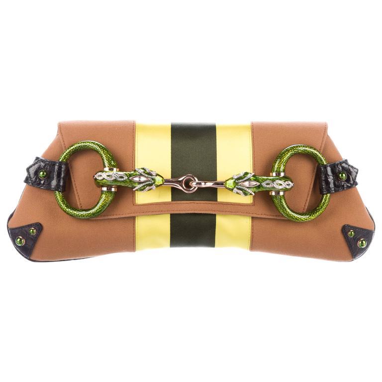 Gucci Tom Ford SS 2004 Striped Canvas Croc Jeweled Snake XXL Clutch Bag