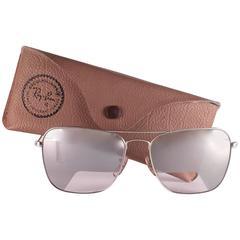 New Vintage Ray Ban Caravan 10K White Gold Pilot Rare Item 1970's B&L Sunglasse