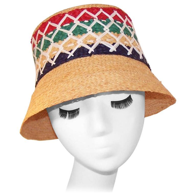 Colorful 1950's Italian Straw Resort Wear Beach Hat For Sale