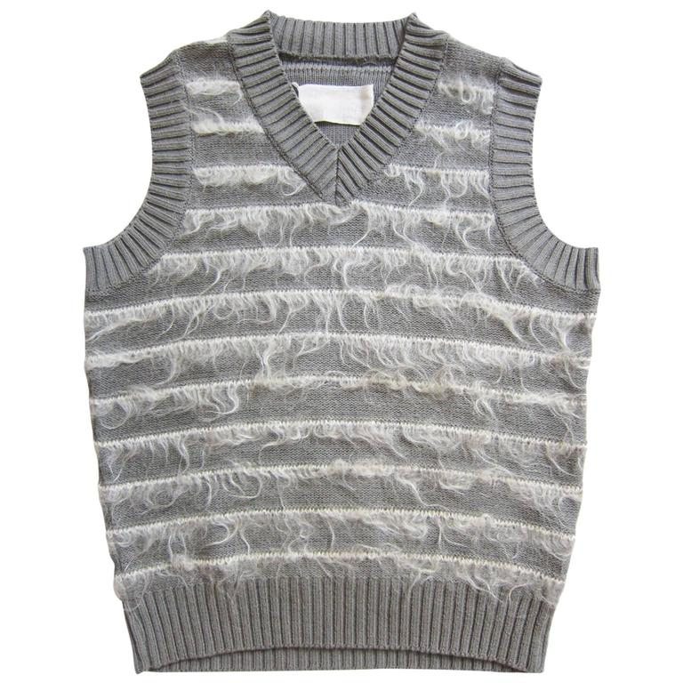 Martin Margiela Grey Knit White Mohair Vest Top For Sale at 1stdibs