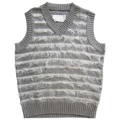 Martin Margiela Grey Knit White Mohair Vest Top