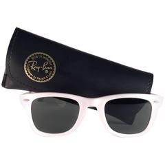 New Ray Ban The Wayfarer White 5024 B&L G15 Grey Lenses USA 80's Sunglasses