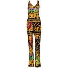 Colorful Versace Signature Medusa Print Grafitti Pants Ensemble Suit