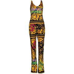 Colorful Versace Signature Medusa Print Grafitti Pants Ensemble Suit