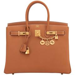 Hermes Gold Camel Tan Birkin Epsom 35cm Gold Hardware Rare Leather