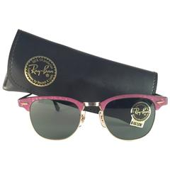New Ray Ban Clubmaster Raspberry & Gold Edition G15 Lens B&L USA 80's Sunglasses