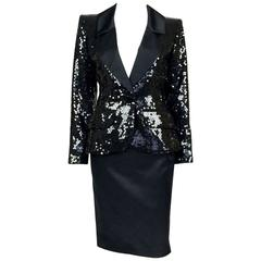1980 Yves Saint Laurent Le Smoking Sequin Jacket, Long and Short Skirt Suit