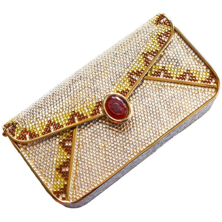 Judith Leiber Crystal Intaglio Clutch For Sale