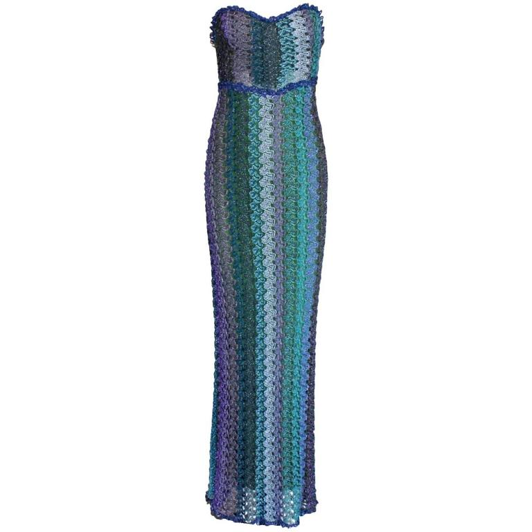 Stunning Missoni Lurex Seafoam Aqua Purple Strapless Crochet Knit ...