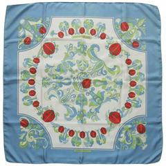 Rare Hermes Silk Scarf Coccinelles Ladybugs Karin Swildens White 88 cm