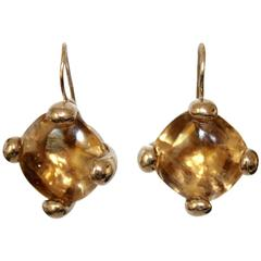 Goossens Paris Citrine and Pale Gold Pierced French Wire Earrings
