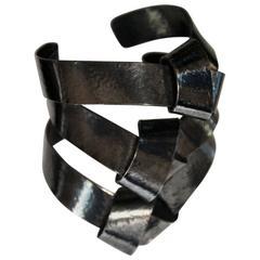 Rare Herve van der Straeten Dark Metal Triple Knot Cuff Bracelet