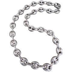 Vintage Modernist Silver Chain Link Necklace Mid Century Danish Choker