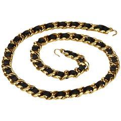 Chanel Black Medallion Gold Chain Belt