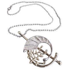 Vintage Modernist Silver Pendant Necklace Mid Century Tage Hansen