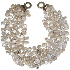 Patricia von Musulin Four Row Keshi Pearl and Sterling Silver Necklace