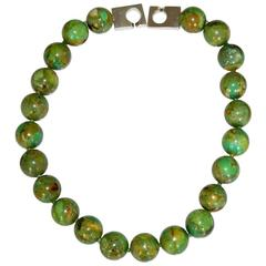 Patricia von Musulin Green Turquoise Bead Necklace with Sterling Silver Clasp
