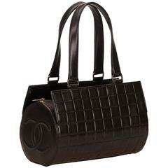Chanel Black Lamskin Leather Chocolate Bar Shoulder Bag