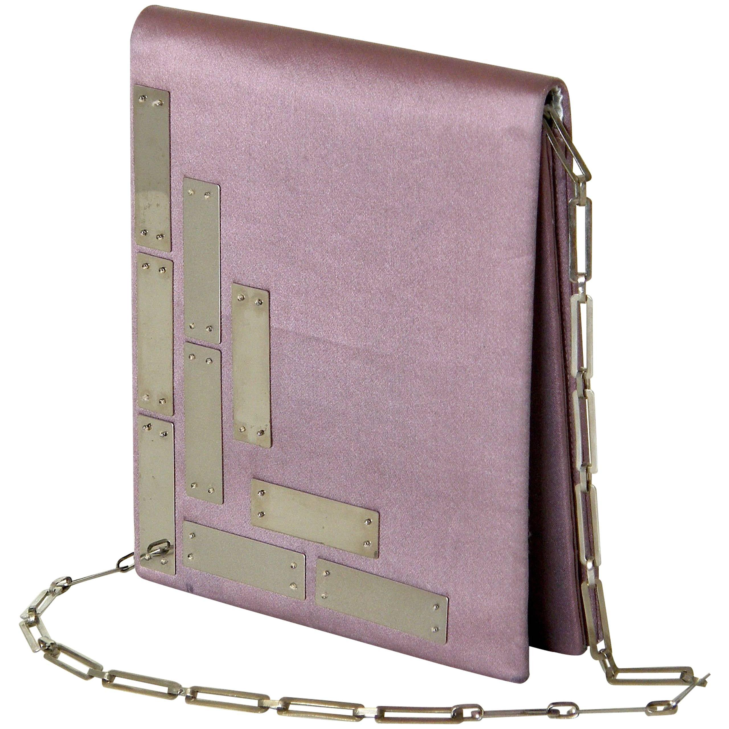 Pierre Cardin Futuristic Silk Shoulder Bag with Metal Panels and Chain Strap