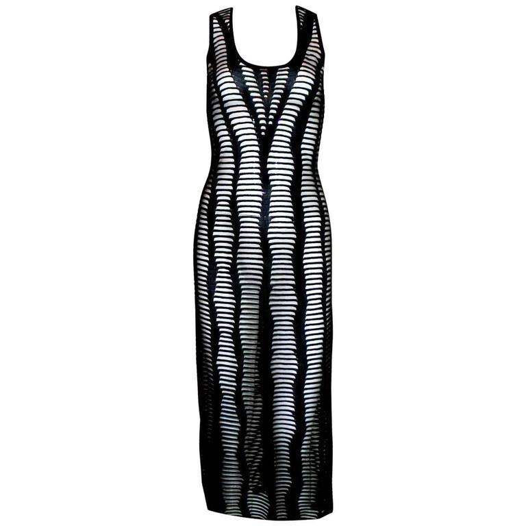Christian Dior Black Crochet Knit Dress For Sale