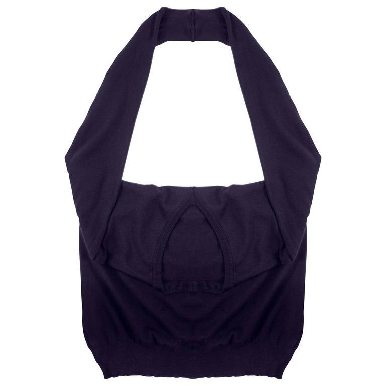 Maison Martin Margiela Spring-Summer 1995 navy blue knitted sweater sack bag  For Sale