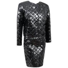 Rare Chanel Black Quilted Sequin Skirt Suit as shown in Metropolitan Museum NYC
