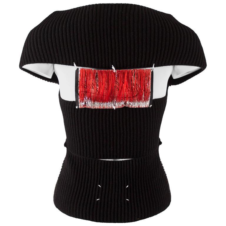 Maison Martin Margiela Autumn-Winter 2004 rib knit black cardigan with patchwork