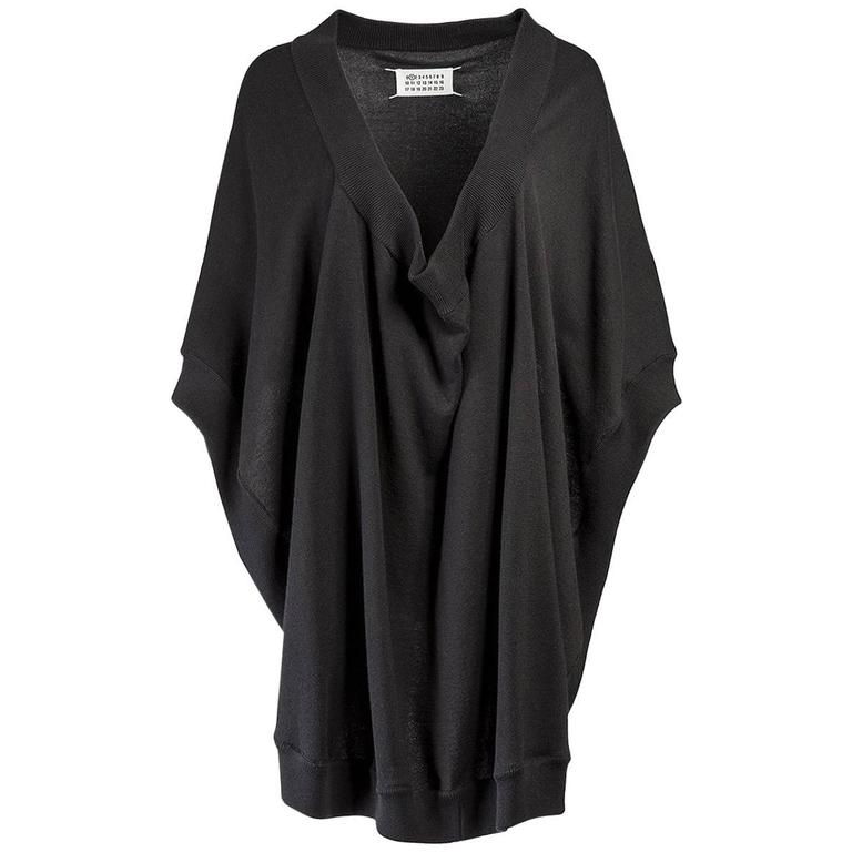Maison Martin Margiela Black Knit Draped Poncho