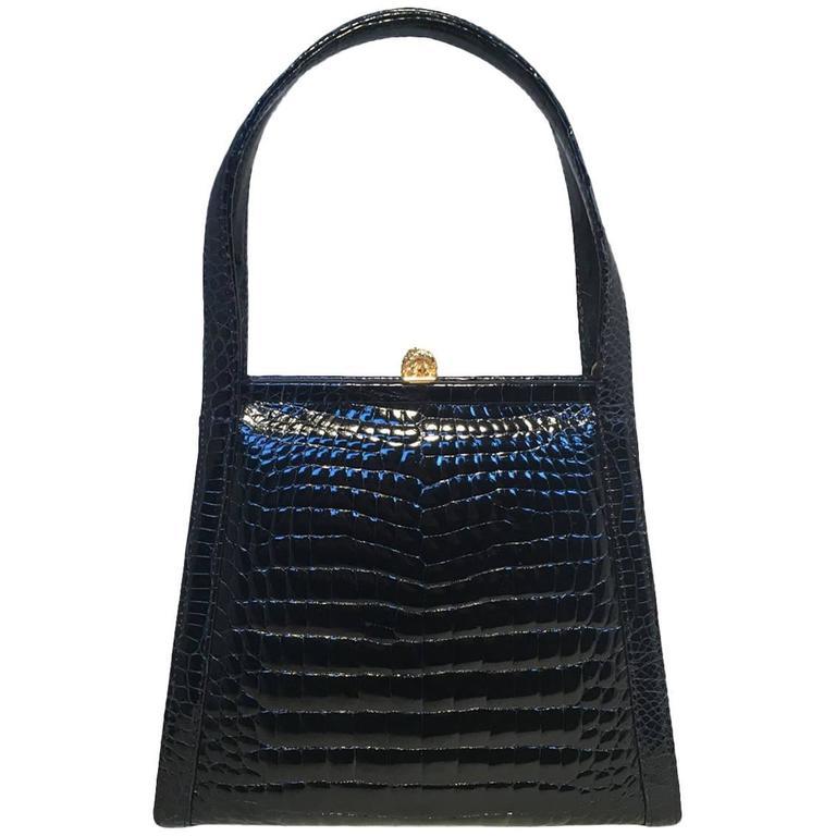 Maxima Vintage Navy Blue Alligator Handbag