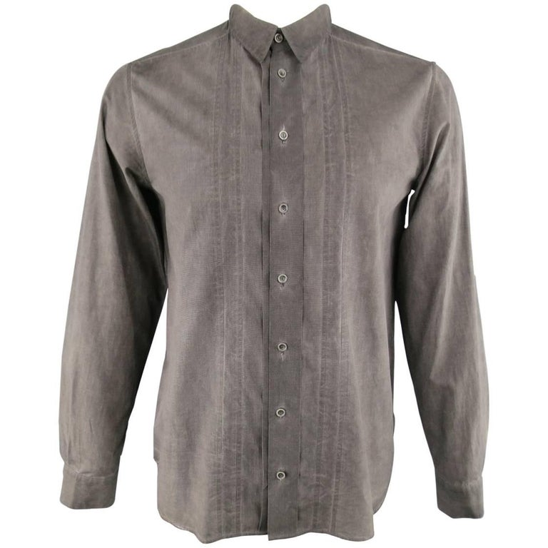 FORME 3'3204322896 Shirt - Smalll Charcoal Washed Dyed Cotton Long Sleeve For Sale
