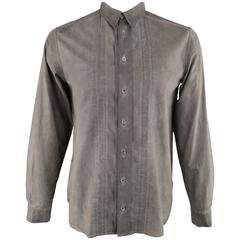 FORME 3'3204322896 Shirt - Smalll Charcoal Washed Dyed Cotton Long Sleeve