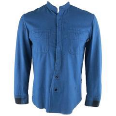 NUMBER (N)INE Size L Blue & Black Plaid Panel Raw Edge Cotton Long Sleeve Shirt