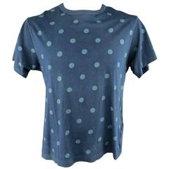 YOHJI YAMAMOTO HOMME Size L Navy Polkadot Washed Cotton T-shirt