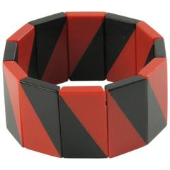 Rare Art Deco Galalith Stretch Bracelet black & red by Auguste Bonaz