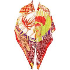 Hermes Ex Libris En Kimonos Cashmere Silk Shawl Scarf GM RARE