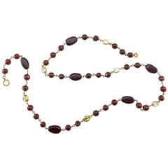 1970's Chanel Red Gripoix and Rhinestone Long Necklace