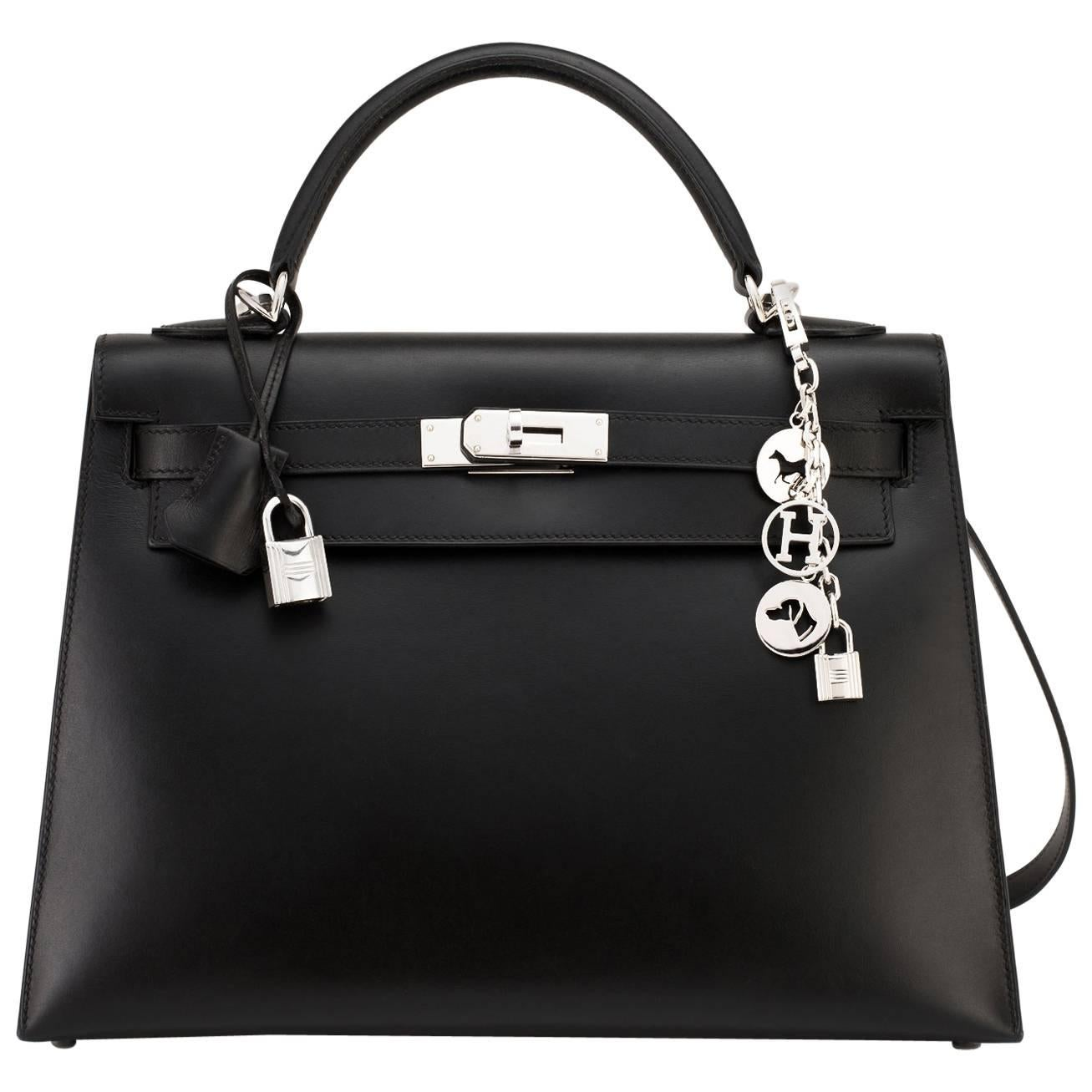 Hermes Black Box Kelly 32cm Shoulder Bag Palladium Hardware