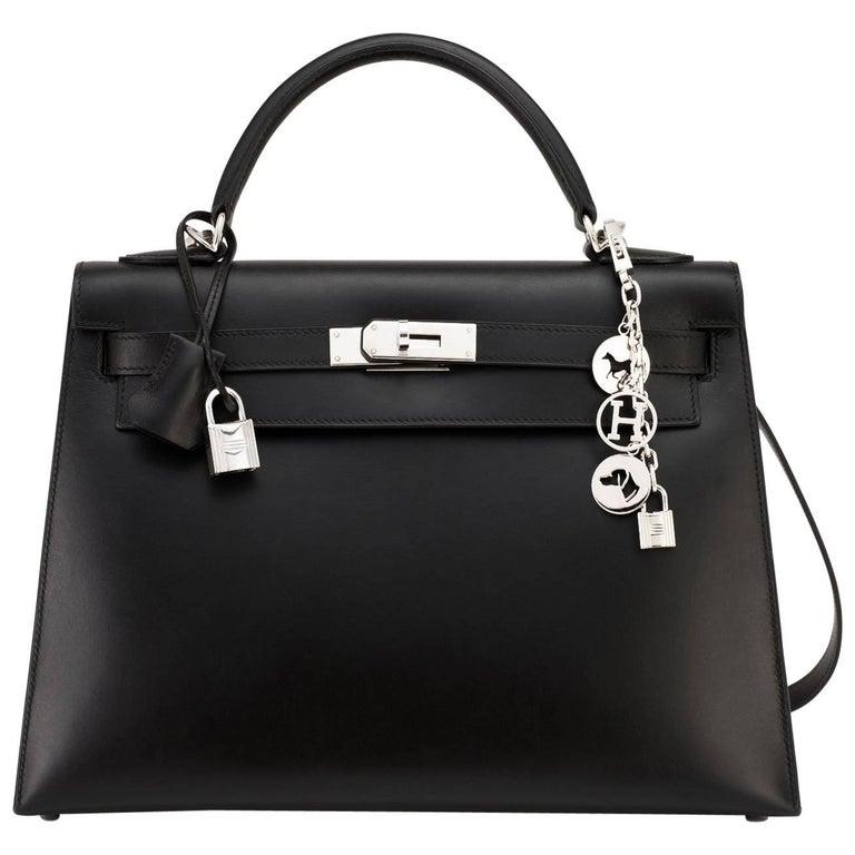 Hermes Black Box Kelly 32cm Shoulder Bag Palladium Hardware