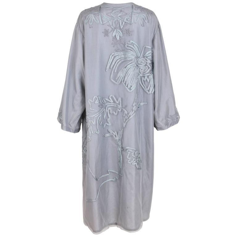 2004 S/S Dries Van Noten Pale Blue Duster Coat w/Appliqued Floral Design