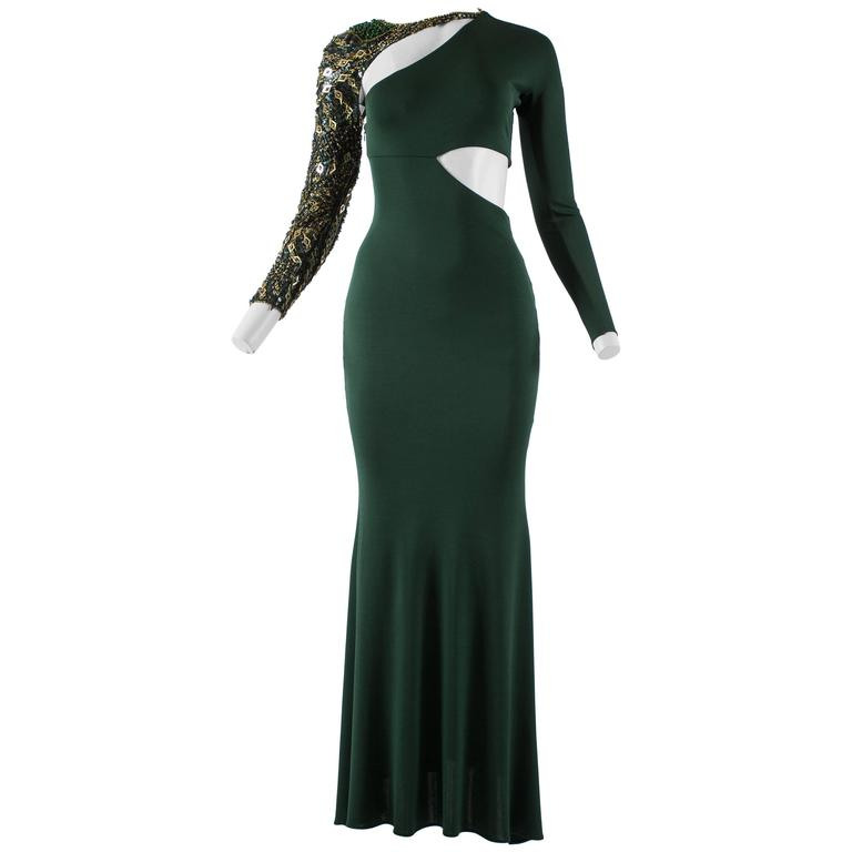 Emilio Pucci Autumn-Winter 2011 emerald green evening gown with embellishment