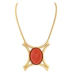 JULIANA D&E c.1970's Burnt Orange Cabochon Gold Tube Modernist Pendant Necklace