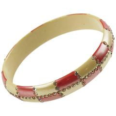 Vintage 1920s French Celluloid Bracelet Bangle Geometric Sparkled Rhinestones